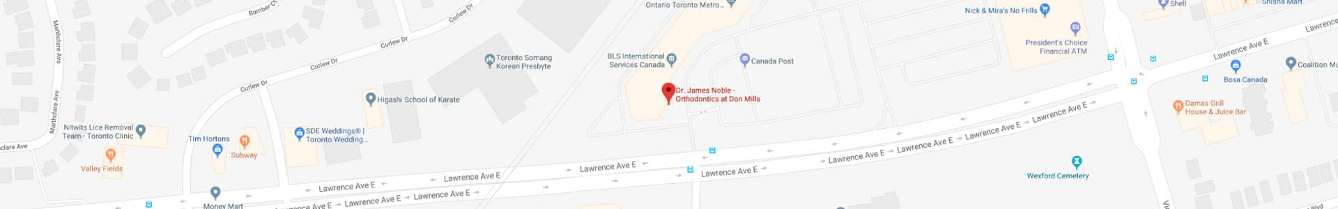 Footer map Orthodontics at Don Mills in Toronto, ON